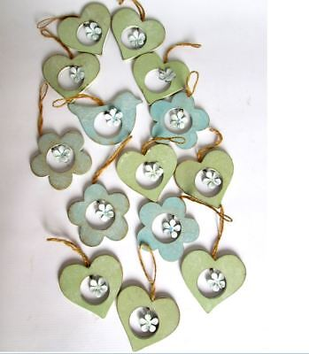 Gisela Graham wooden hearts, flowers and birds with tin daisies, set of 14