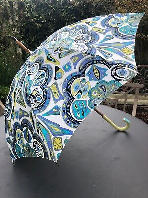 Emilio Pucci Rare Vintage Wood Umbrella with Leather Handle