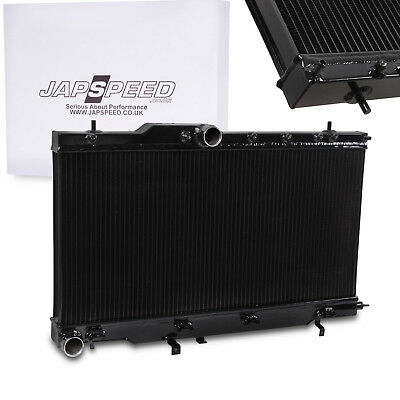 JAPSPEED BLACK 40mm ALLOY RADIATOR RAD FOR SUBARU IMPREZA BUGEYE WRX STI 01-03