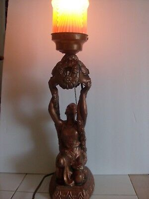 EGYPTIAN REVIVAL LADY LAMP art deco ROSE GOLD GIANT 1920's SPELTER w/GLASS SHADE