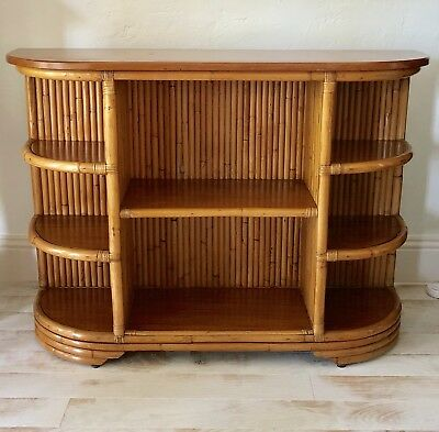 Beautiful Vintage 50's Rattan & Mahogany Sideboard Bar or Shelf by Kane Kraft