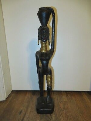 """Vintage Wooden Carved Sculpture African Tribal Woman Made in Thailand 20"""""""
