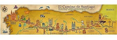 Camino de Santiago Full Colour Camino Wall Map