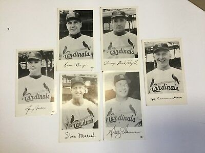 VINTAGE LOT OF (6) ST LOUIS CARDINALS TEAM ISSUE LITHOGRAGH POSTCARDS 60s