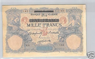 Tunisia Bank Of L'algeria 100 Francs Type 1892 Alphabet H.51 Pick 31 Quality