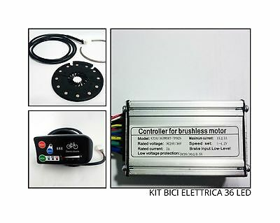 KIT COMPLETO ricambi bici elettrica ebike CENTRALINA DISPLAY PAS 36volt LED