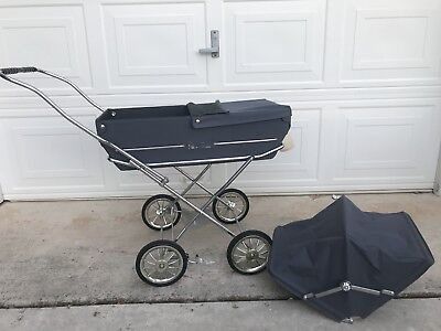 Vintage Silver Cross Baby Doll Carriage Stroller, Navy