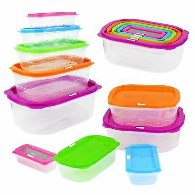 10Pc Stackable Food Storage Containers Coloured Lid Plastic Lunch Boxes  Stacking