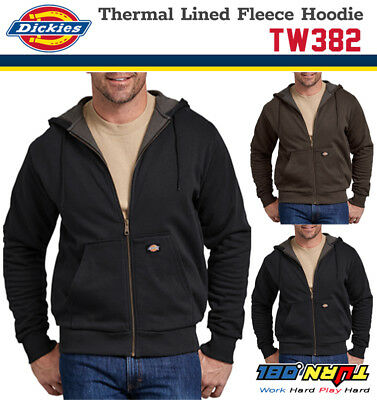 NEW DICKIES TW382 Thermal Knit Lined Fleece Full Zipper Hoodie Sweater (2 COLOR)