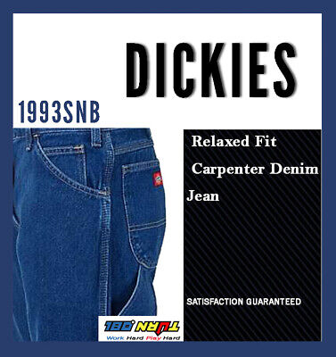Dickies Denim 1993SNB Relaxed Fit Carpenter Jeans, Medium Stone Washed 30~50