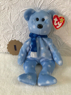 """TY Beanie Baby - 1999 HOLIDAY TEDDY,8.5 """" - MWMTs, baby blue/white snowflakes"""