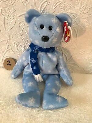 """TY Beanie Baby - 1999 HOLIDAY TEDDY,8.5 """" - MWMTs -baby blue,white snowflakes"""
