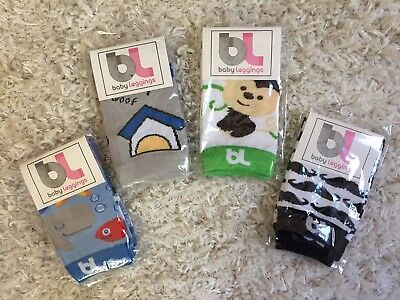 BL Baby Boy Leggings Leg Warmers Knee Protectors LOT of 4 Animal Monkey Mustache