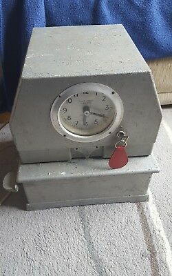 vintage leeds ltd time recorder clock machine