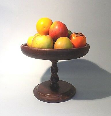 Antique English Oak Barley Twist Fruit Bowl. Comport. Free Shipping.
