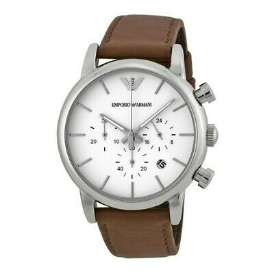 Brand New Emporio Armani AR1846 Brown Leather White Dial Chronograph Men's Watch