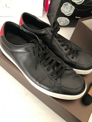 ebe256446 ... Rhyton Men's Dad Sneakers Web Print Black Leather SZ 9 EUC. $500.00 Buy  It Now 18d 1h. See Details. gucci shoes men 11.5 Black Leather Lace-up  Sneakers