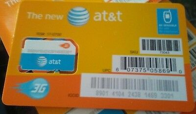 AT&T STANDARD 2FF SIM Card • GSM 3G • NEW OEM Prepaid or Contract