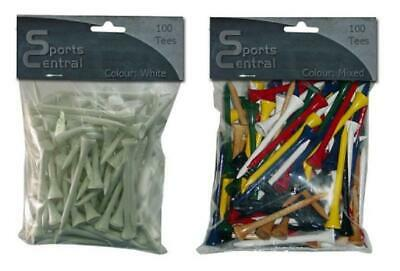 New Wooden Golf Tees - Pack of 100 - 54mm / 70mm / 83mm - White or Mixed Colours