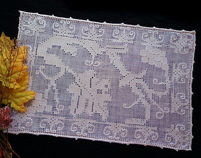 6 Rustic Antiq Placemats Italian Handmade Lace Pulled-Thread Embroidered GRAPES