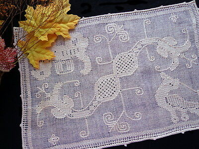 6 Placemats: Antique Italian Handmade FIGURAL Lace Pulled-Thread Dragons Lions