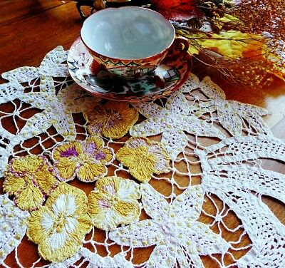 Unusual Antique Table Mat Centerpiece Silk-Embroidered PANSIES On Handmade Lace