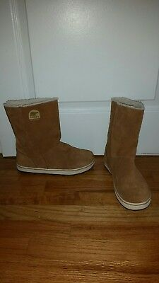 Sorel Womens Snow Boots Taupe Brown Waterproof Suede Leather Winter  Size 9 EUC