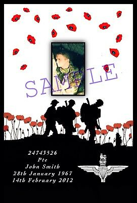 Remembrance Day. Personalised A4 poppy print. Parachute Regiment PARAS.