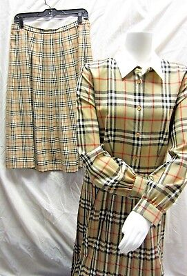 Vintage Women's Burberry Plaid Lot Pleated Skirt Size 14 + Collared Dress #21