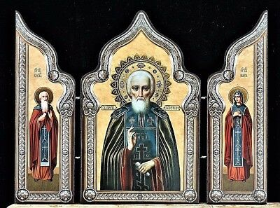 St.Sergius of Radonezh,his Holy parents Russian Orthodox Icon Triptych Wood gold