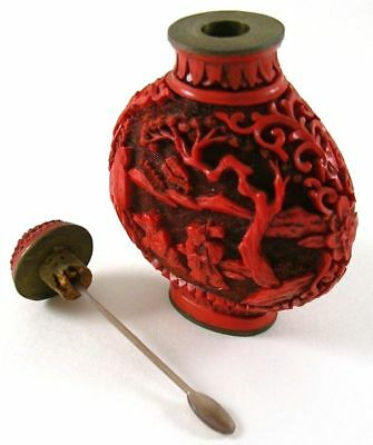 Antique Chinese Carved Red Cinnabar Lacquer Snuff Bottle, QING Dynasty, 19thC