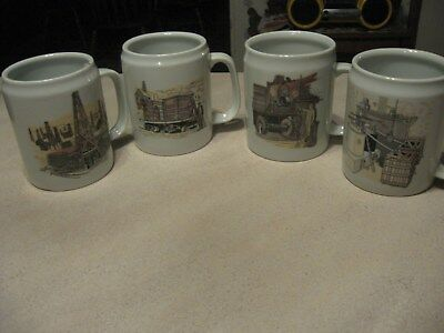 4 Quaker State Motor Oil Large 20 oz. Mugs-4 DIFFERENT-OIL RELATED