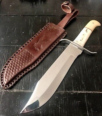 "15"" TACTICAL BOWIE SURVIVAL HUNTING KNIFE MILITARY DAGGER Fixed Blade Leather CB"