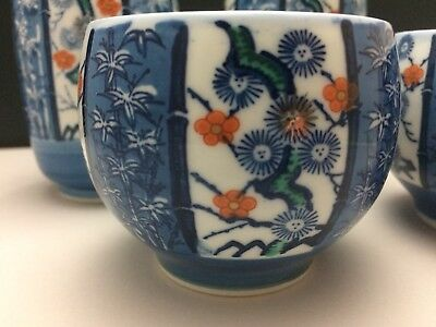 Vintage Possibly Antique Japanese Porcelain SAKI CUPS Set Of 4 Marked Gorgeous