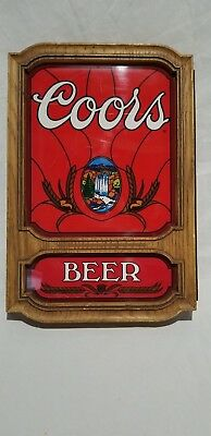 Vintage Coors Red Hanging Sign, Faux Wood plastic Frame, Top Only
