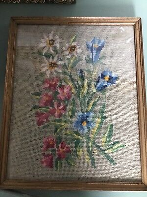 Beautiful Vintage Hand Made Framed Floral Embroidery/Tapestry #397