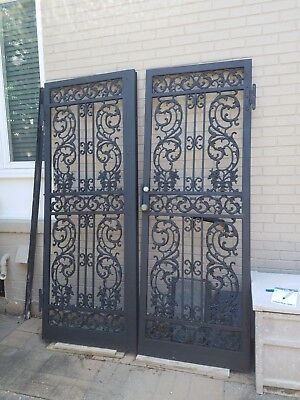 Vintage Architectural Cast Wrought Iron Storm Security Doors