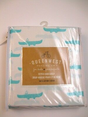 Queenwest Baby Fitted Crib Sheet Alligator Teal 100% cotton