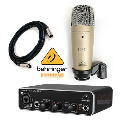 Behringer C-1 Microphone + UMC22 Audio Interface Audiophile + XLR Cable 5 ft