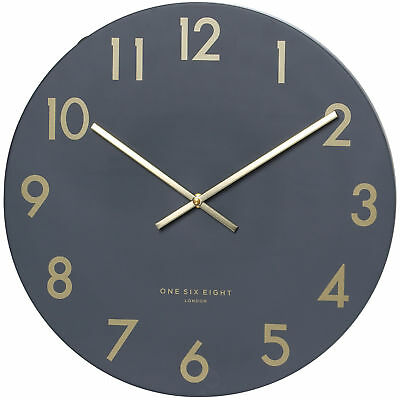 NEW Charcoal Grey Jones Silent Wall Clock - OneSixEightLondon,Clocks