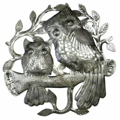 Steel Oil Drum Wall Art Pair of Owls on Perch 23-Inch Dia Handcrafted Fair Trade