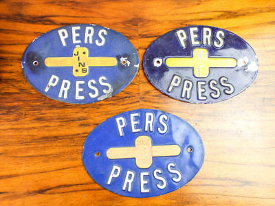 Vintage Yellow and Blue Sign Set of 3 Dutch Pers Press Metal Wall Signs