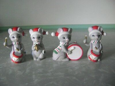 4 Ceramic Lefton Frisky Friends Christmas Mice Mouse Marching Band Figurines Set