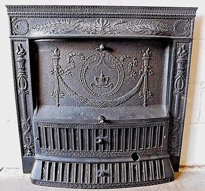 1800s Metal FIREPLACE Surround With Summer Cover & Grates Victorian Style ORNATE