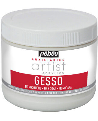 Pebeo Artist Acrylic & Oil Auxiliaries Gesso One Coat Universal Primer 500ml