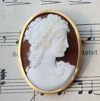 Antique French 18k Yellow Gold Carved Stone Cameo Woman c1900