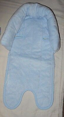 Vtg Carters Infant Baby Blue Car Seat Stroller Cushion Pad Head Support Pillow