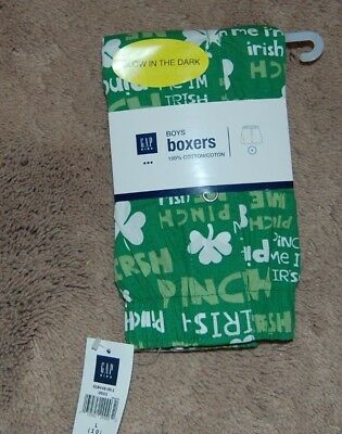 NWT Boys GAP Kids Boxers  St Patricks Day Size Large 10 Glow in the Dark