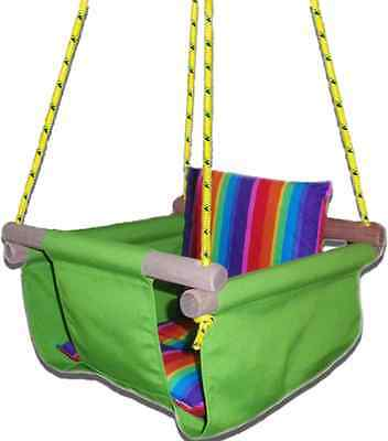 New -  Baby Spring Swing - Lime Green Canvas - w Rainbow Stripe Cushion