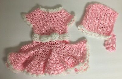 Vintage Toddlers Girls Or Doll Pink White Hand Knit Dress w/ Matching Bonnet Hat